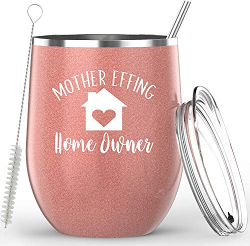 Housewarming Gifts - Mother Effing Home Owner Insulated 12oz Stainless Steel Wine Glass Tumbler - With Lid, Straw, and Cleaning Brush - Funny First Time Home Owner Gifts For Women & For Men