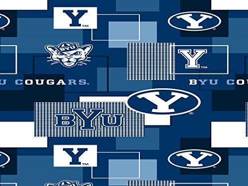 BRIGHAM YOUNG COUGARS COTTON FABRIC BLOCK PRINT-BYU BLOCK PRINT COTTON FABRIC-NEWEST DESIGN - Young University Fabric Brigham