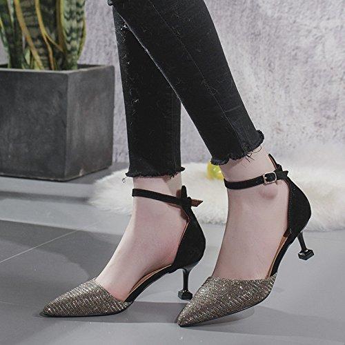 Gold High Mit Rot Mund Hochzeit UK Weiblichen EU Zehen 4 Fein 5 Stilettos 37 Schuhe Wies Kleid Flachen 6cm Spitz Damen Wildleder Heels xASpSaI