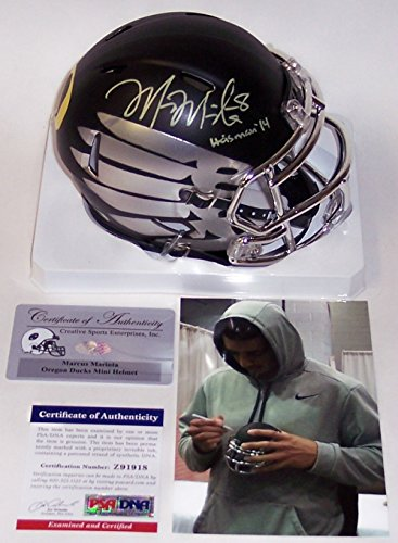 Marcus Mariota Autographed Hand Signed Oregon Ducks Speed Mini Football Helmet - with Heisman 14 Inscription - - Mini Autographed Heisman Helmet
