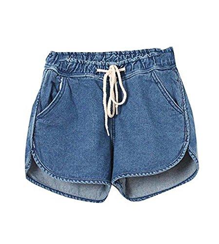 hellomiko 2018 nouveaux shorts de denim d't de femmes, taille lastique cordon lache shorts Bleu Marin