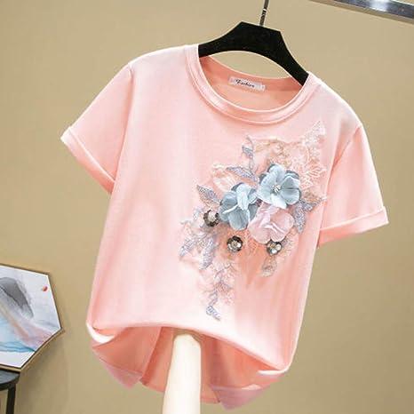 DAIDAINDX Camiseta Negra Apliques Bordados Mujeres O-Cuello Camisetas Sueltas De Algodón Casual Camisetas De Manga Corta De Talla Grande: Amazon.es: Deportes y aire libre