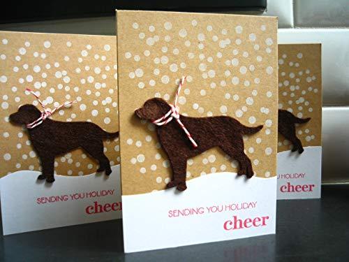 Chocolate Labrador Christmas Cards - Dog Holiday Cards Set of 3,