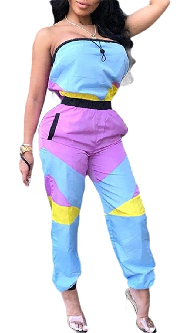 GAGA Women Fashion One Piece Jumpsuits Pants Colorblock Windbreaker Romper