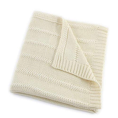 EverGrace Cozy Solid Knit Throw Blanket for Couch Chairs Bed Beach, Super Soft Throw Blanket with Cable Textured Design 50x 60 Cream