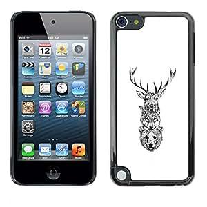 EJOY---Cubierta de la caja de protección la piel dura para el ** Apple iPod Touch 5 ** --Ciervo Lobo Oso