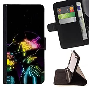 - COLORS ART ROBOT MAN NEON FUTURE AI - - Prima caja de la PU billetera de cuero con ranuras para tarjetas, efectivo desmontable correa para l Funny HouseFOR Apple Iphone 6 PLUS 5.5