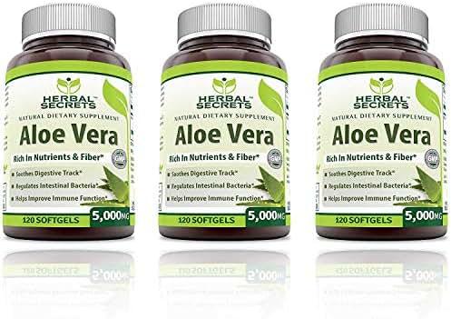 Herbal Secrets Aloe Vera Natural Dietary Supplements, 120 Softgels, 5000 Mg(Pack of 3)