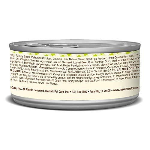Merrick Purrfect Bistro Grain Free Turkey Pate Wet Cat Food, Case Of 24, 5.5 Oz