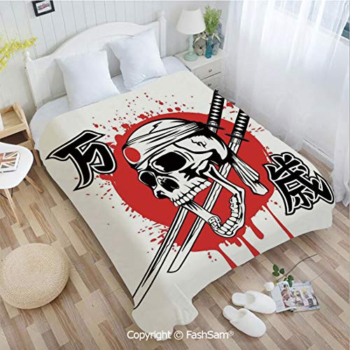 PUTIEN Super Soft Blankets for Couch Bed Birthday Skull of Kamikaze with Bandanna Samurai Swords Japanese Flag Picture Art Perfect for Couch Sofa or Bed(39Wx49L)