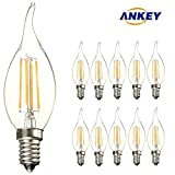 10-Pack E14 LED Candle Filament Bulbs 4W,Warm White 2700K Candelabra E14 SES Bulb, 360 Degree Beam Angle, Non-Dimmable, 450Lm, LED Light Bulb, Small Edison Screw Candle Light Bulbs, 40W Incandescent Replacement Clear Candle Bulbs Equivale
