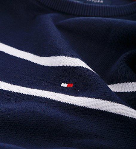 Tommy Hilfiger Crew-Neck Pullover Strickpulli Rundhals dunkelblau gestreift Größe XXL