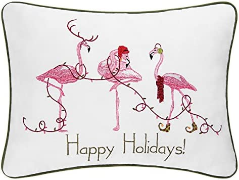 C F Home 12×16-inch Embroidered Christmas Decorative Pillow