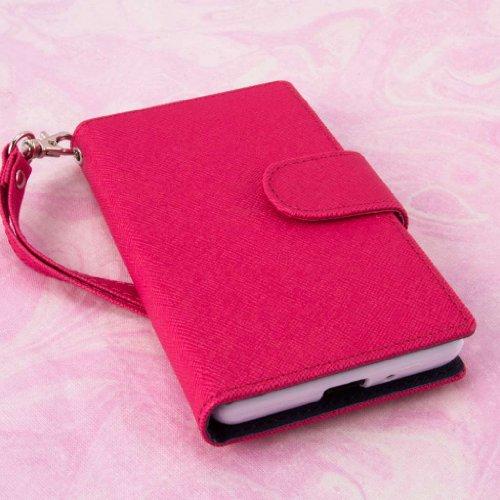 MPERO FLEX FLIP Wallet Case for LG Splendor / Venice US730 - Pink / Navy Blue