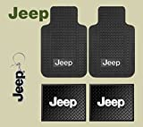 jeep car seat mat - Jeep Logo Car Truck SUV Front & Rear Seat Rubber Floor Mats 4PC SET & Jeep Lanyard Kechain Holder