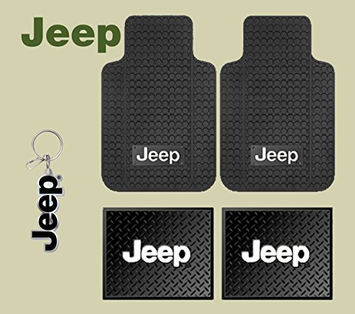 Jeep Logo Car Truck SUV Front & Rear Seat Rubber Floor Mats 4PC SET & Jeep Lanyard Kechain Holder - Jeep Cj Rear Seat