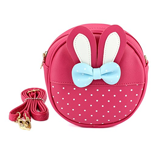 CMK Trendy Kids Round Princess Crossbody Purse and Handbags Bowknot Messenger Bag for Toddler Kids, Little Girls and Babies Party favors (81002_Red)