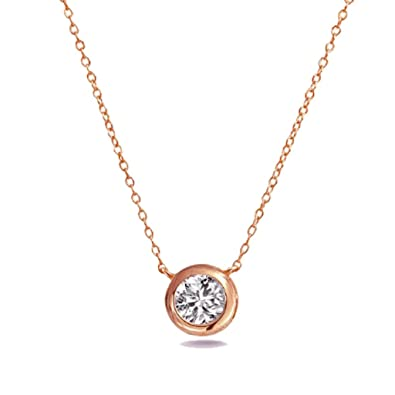 Amazon solitaire pendant necklace 925 sterling silver and rose amazon solitaire pendant necklace 925 sterling silver and rose gold tone finish bezel set 6mm cz chain necklaces jewelry aloadofball Images