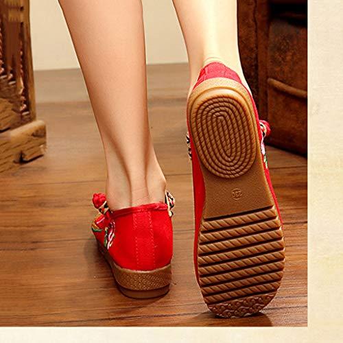 De Bordados Red Tamaño Bordados De Zapatos Ballet XHX Zapatos Zapatos 34 Color Ocasionales Planos De Mujer Tela Elegantes Negro PqnSwR