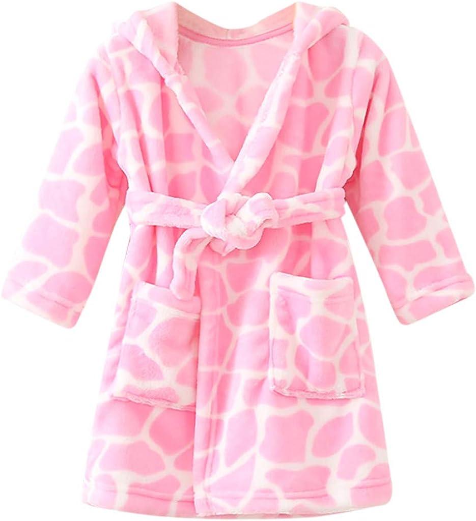 Yezijin Toddler Baby Boys Girls Print Thick Warm Flannel Bathrobe Night-Robe Pajamas for 1-10 Years