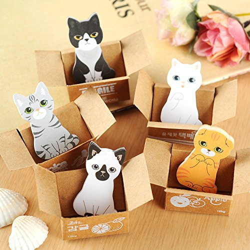 Fascola Mini Cute Cartoon Kawaii Cats and Dogs Memo pad Box Sticky Notes for Kids Gifts Post It Note Office Supplies ,Pack of 5