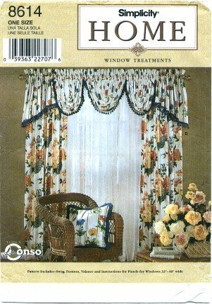 - Simplicity 8614 Sewing Pattern Home Decor Window Treatments Valance Swags Festoon Drapery Panels