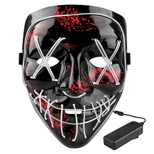 Pig Face Mask Emoji (Halloween LED Scary Mask - Halloween Costume Mask EL Wire Light Up LED Glowing Mask with 3 Lighting Modes for Halloween)