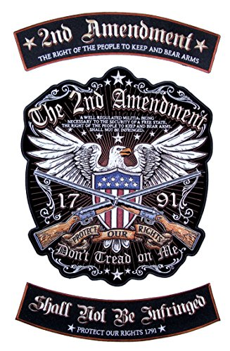 (Leather Supreme Patriotic The 2nd Amendment Rights 3 Pc Rocker Set Biker Patch-Gold-Large)