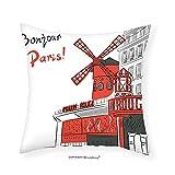 VROSELV Custom Cotton Linen Pillowcase Paris Decor Sketch Art of Urban Landscape with Cabaret Moulin Rouge in Paris Modern City Trendy Bedroom Living Room Dorm Decor Red Grey White 22''x22''