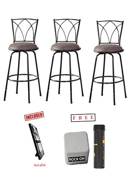 Swell Mainstay Set Of 3 Benson Adjustable Height Swivel Barstool With Free Machost Co Dining Chair Design Ideas Machostcouk