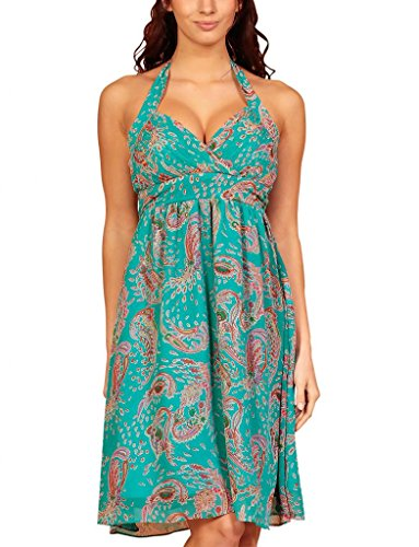 MY EVENING DRESS - Vestido - cuello hálter - Floral - Sin mangas - para mujer Parsley Print Turquoise