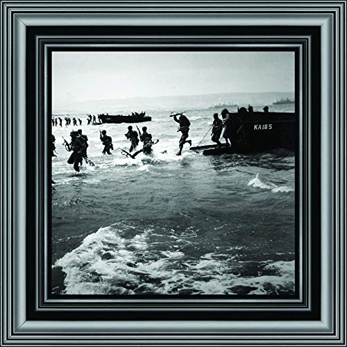 Historically Yours D-Day Landing, World War 2 Image, Military Framed Picture, 10x10 8524B