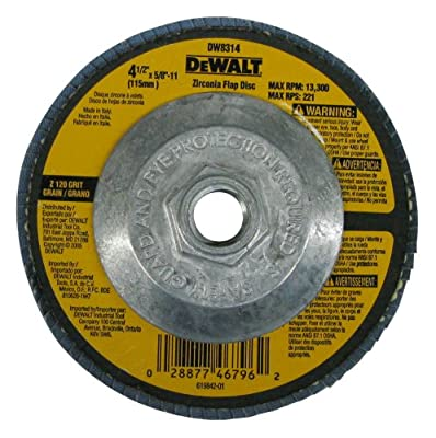 DEWALT DW8314 4-1/2 by 5/8-Inch-11 120 Grit Zirconia Angle Grinder Flap Disc