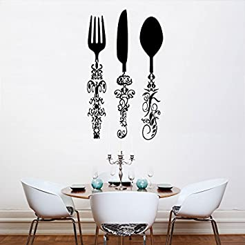 Wall Decal Vinyl Sticker Decals Art Decor Design Kitchen Stuff Fork Spoon  Knife Vintage Pattent Cutlery Part 39
