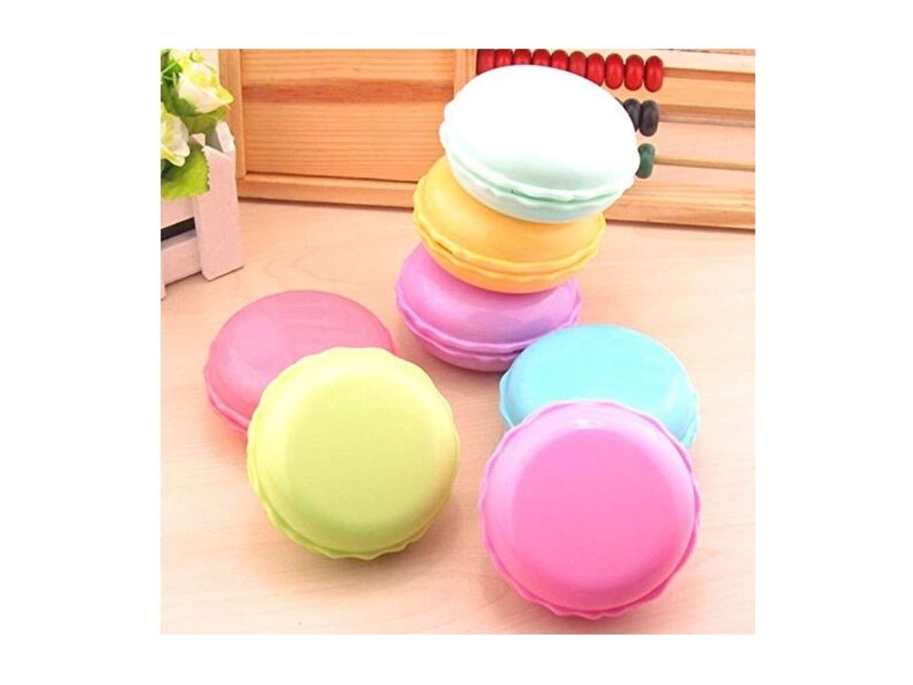 FOOBRTOPOO Mini Sweet Macarons Contact Lens Case Kit de Viaje con Espejo Pinzas Stick y Solution Bottle Limpiar (tamaño : 7.5 * 7.5 * 3.5cm)