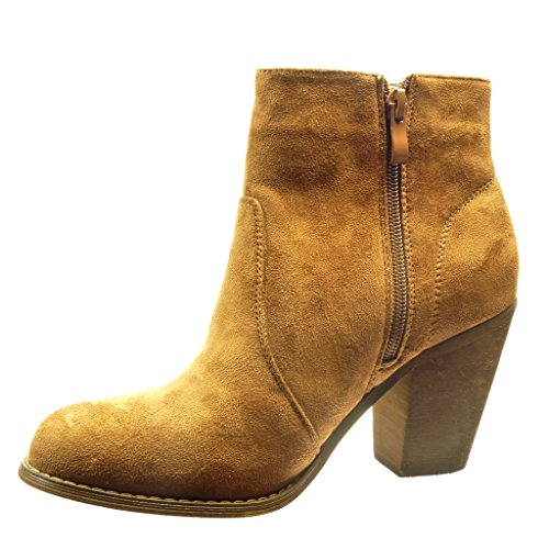 Angkorly - Zapatillas de Moda Botines cavalier mujer cordones Talón Tacón ancho alto 8 CM - Camel