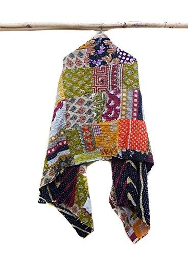 Indian Cotton Kantha Fashion Scarf Reversible Bohemian Handmade Veil Neck Wrap patchwork
