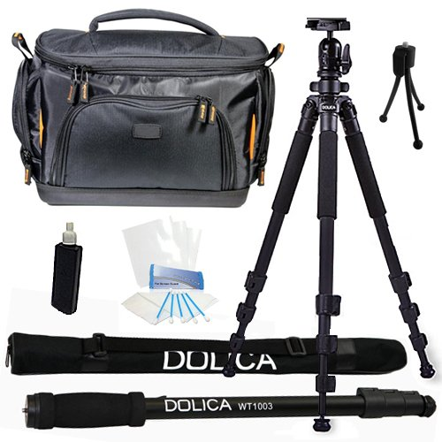 Dolica AX620B100 62-Inch Proline Tripod and Ball Head + Dolica WT-1003 67-Inch Lightweight Monopod + Vidpro TL-60 Deluxe Digital DSLR Camera Case Bag Everything You Need Combo Kit for Canon EOS 6D 60D 60Da 70D