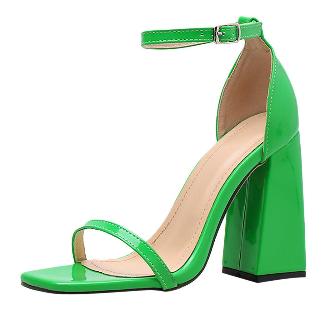 kaifongfu Women's High Heel Sandal Open Toe Ankle Buckle Cross Strap Platform Pump Evening Dress Casual Peep Toe Shoes(Green,35) by kaifongfu