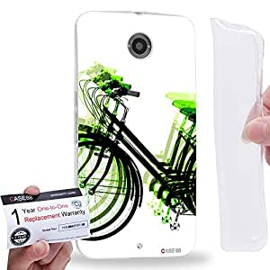 Case88 [Motorola Nexus 6] Gel TPU Carcasa/Funda & Tarjeta de garantía - Art Fashion Light Green Psychedelic Bicycle