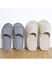 6 Pair of Open Toe Breathable Slippers,Solid Color Casual Slippers,Spa Slippers for Guests, Hotel, Travel, Unisex Universal Size Washable (3 beige medium size+3 gray large size)