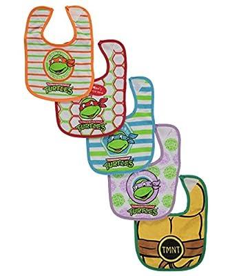 """TMNT """"Mom's Little Hero!"""" 5-Pack Bibs - green/purple/blue, one size"""