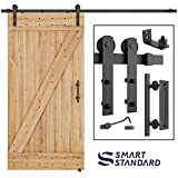 8 FT Heavy Duty Sturdy Sliding Barn Door Hardware Kit, 8ft Double Rail, Black, (Whole Set Includes 1x Pull Handle Set & 1x Floor Guide & 1x Latch Lock) Fit 42''- 48'' Wide Door Panel (I Shape Hanger)