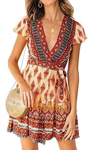 Women's Summer V Neck Floral Print Ruffle Swing A Line Bohemian Wrap Beach Mini Dress Red L