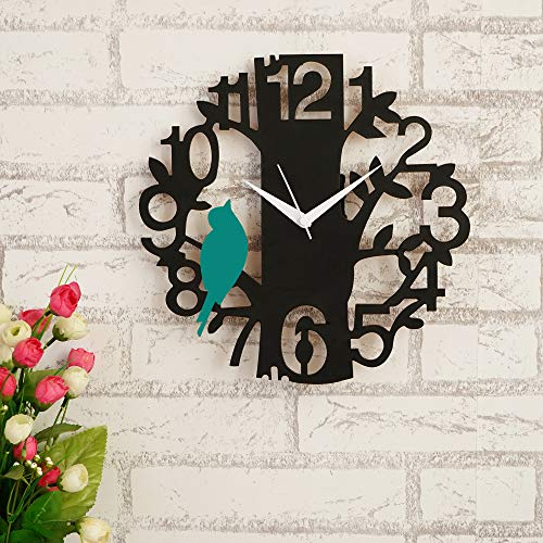 JaipurCrafts Beautiful Tree and Bird Round Wood Wall Clock (Black, Green)