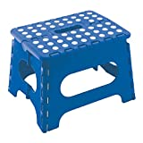 9'' Super Quality / Heavy Duty Folding Step Stool with handle, Non Slip for Adults and Kids, Saves Space, / Super Handy - Blue