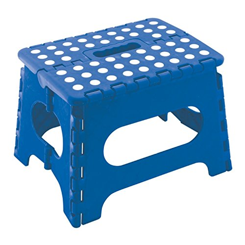 "9"" Super Quality / Heavy Duty Folding Step Stool with handle, Non Slip for Adults and Kids, Saves Space, / Super Handy – Blue"