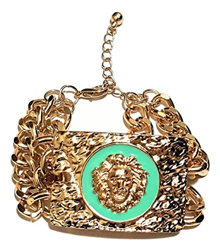 LION FACE PLATE BRACELET (Turquoise) (Turquoise Faceplates)