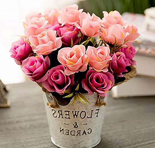 Artificial Plants Lifelike Mini Plants Fake Green Grass Flower with Vintage Iron Pots Faux Greenery for House Decorations (Pink Rose)