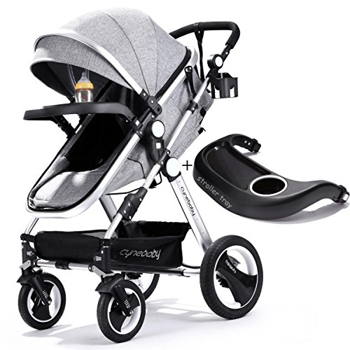 Infant Toddler Baby Stroller Carriage – Cynebaby Compact Pram Strollers Single Stroller add Cup Holder Footmuff Stroller Tray (Gray) For Sale